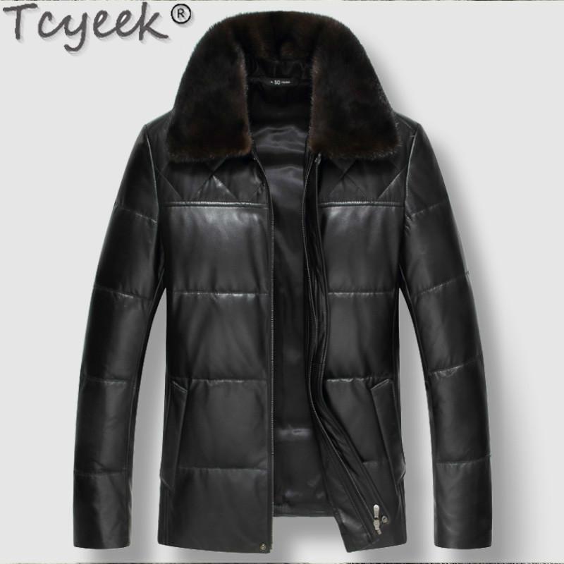 Chaqueta de cuero de los hombres de invierno de piel de oveja real capa del cuero genuino de los hombres por la chaqueta de cuello Couro Legitimo 91888