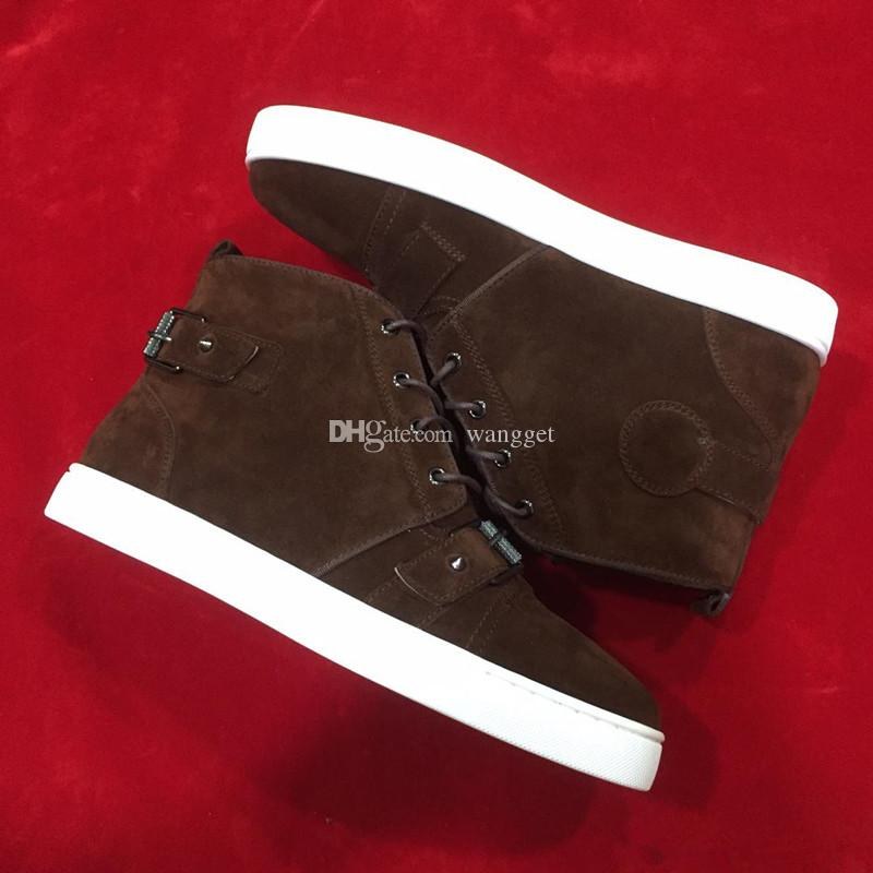 Frete grátis Marca Red inferior Sneakers Brown Suede High Top Casual Mens Womens Moda Cavalheiro Designer Lace up Trainers Flat Shoes