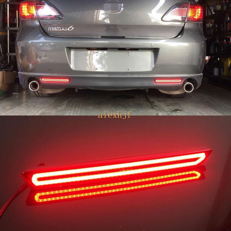 자동차 LED 라이트 가이드 브레이크 라이트 케이스 마즈다 2 3 6 8 Atenza Axela를 들어, LED 브레이크 라이트 + 켜고 신호는 + 밤 조명 DRL 경고 실행
