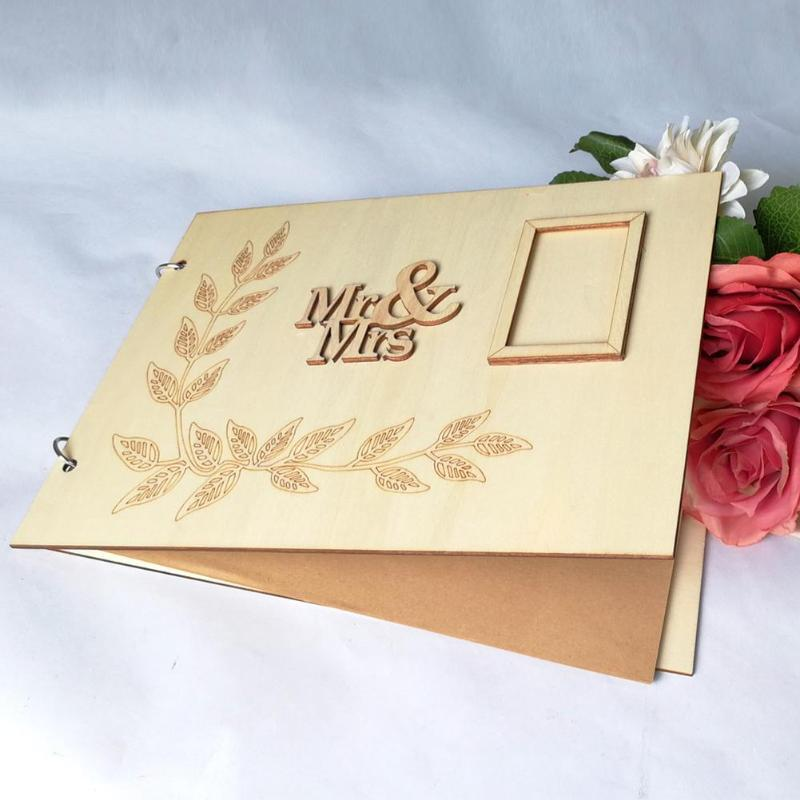 20 Sheets Wooden Guest Book Signs Wedding Romantic Marriage Guestbook Wedding Supplies Home Decor Scrapbooking Book