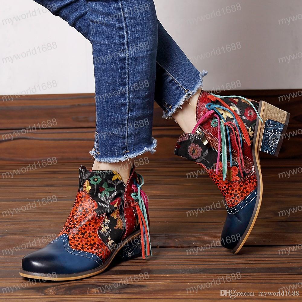 Цветочные 2019 Новые сапоги из натуральной кожи лодыжки для женщин Весна Осень Женская обувь Женщина цветок Bohemia Bootie