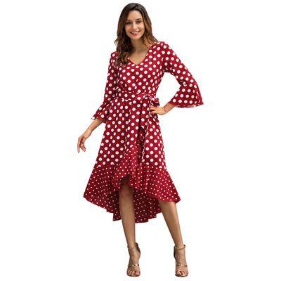 Compre Mujeres Impresas Vestidos Largos Moda Casual 34 Mangas Vestidos 2019 Nueva Llegada De Primavera Damas Lunares Gasa Faldas Largas Vestido De