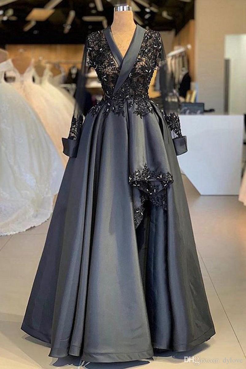 Maniche lunghe 2020 Prom Dresses arabo Plus Size Nero Vestiti De Fiesta de Noche robe de soiree musulmani sera convenzionale veste gli abiti