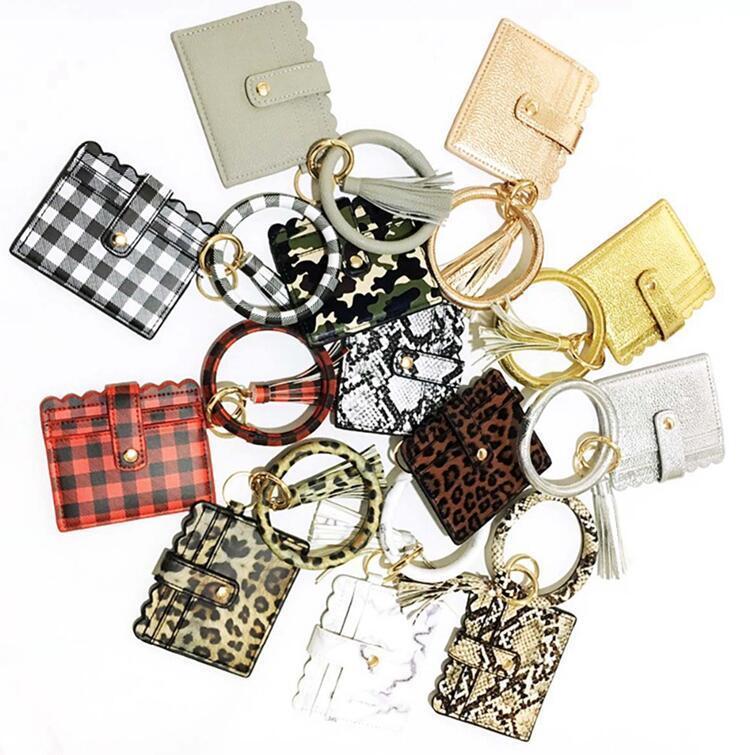سوار سلسلة المفاتيح المحفظة ليوبارد الأفعى PU جلدية الشرابة بطاقة المرأة حقيبة الفاصل النساء السوار حلقة مفاتيح عناصر الجدة 20PCS OOA8090