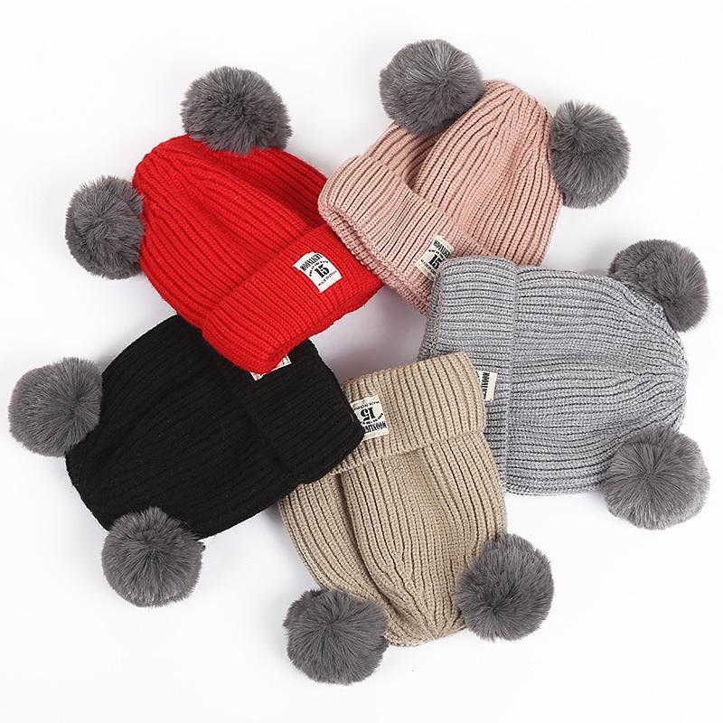 1 pcs inverno dos desenhos animados de malha espessamento chapéus para crianças double pompom fur estilo coreano bonito gorro para crianças aquecido caps casuais