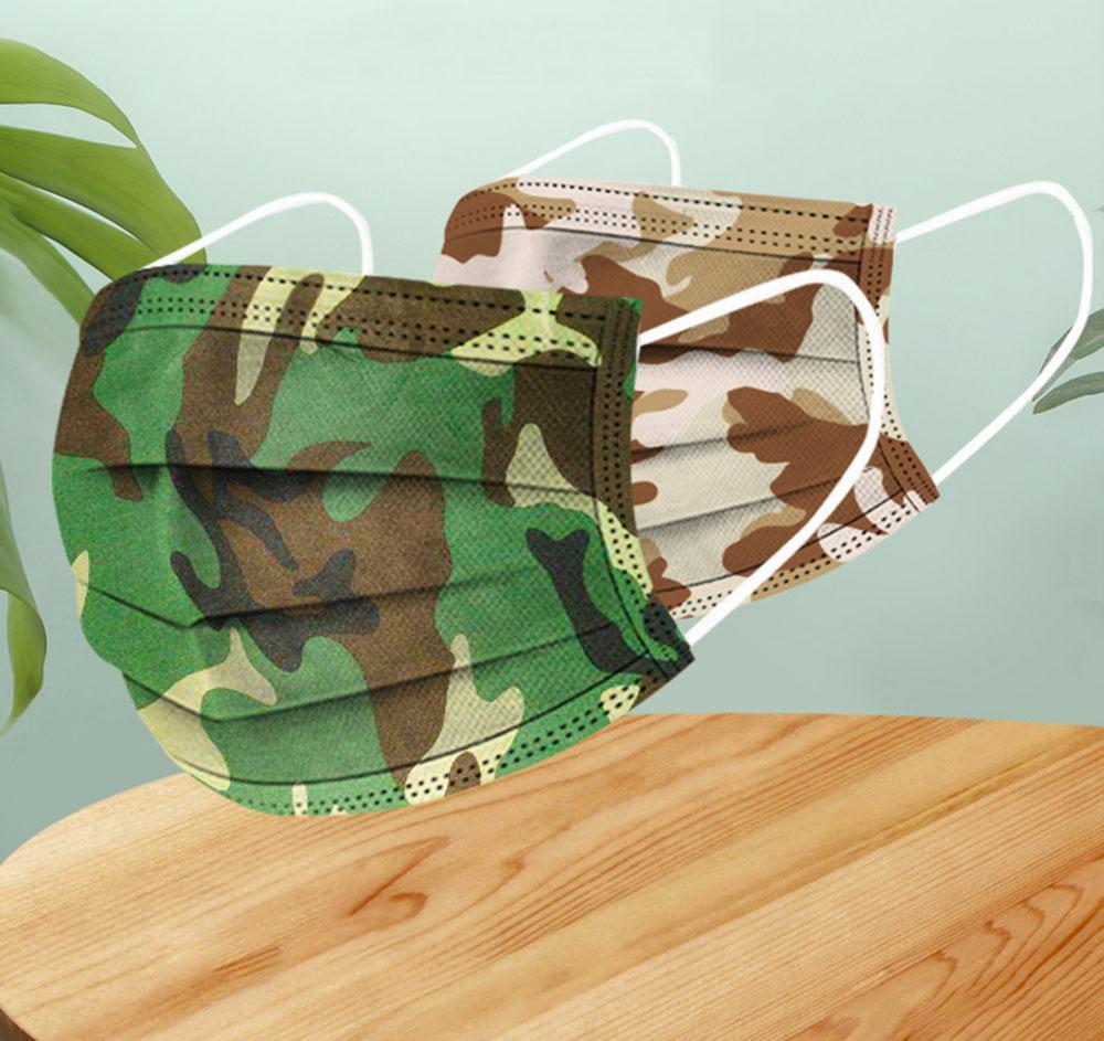 Máscaras de camuflagem para Homens Mulheres Dustproof Anti-pó Anti-fumaça respirável descartável Outdoor Sports Ciclismo Máscaras Unisex Seguro Respirador
