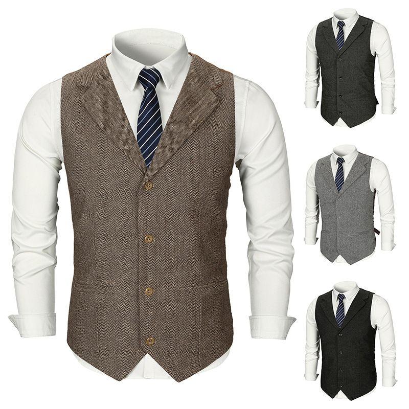 Vestito dalla maglia personalizzata panciotto sposa 2020 Groom Gilet vintage Brown Tweed Groomsmen di lana a spina di pesce 4 uomini di stile del vestito Gilet Slim Fit Uomo