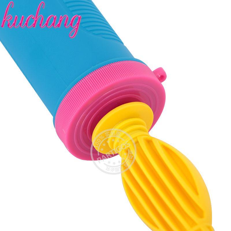 Azul plástico amarelo balão de mão por Foil e Latex balões de ar inflator bomba portátil para o partido Acessórios