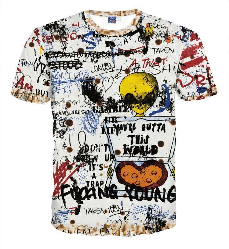 Designer Mens T-shirt à manches courtes pour hommes de luxe nouvelle marque T-shirt avec impression Alien Graffiti arc-en-vrac Taille Style décontracté S-5XL Wholesales