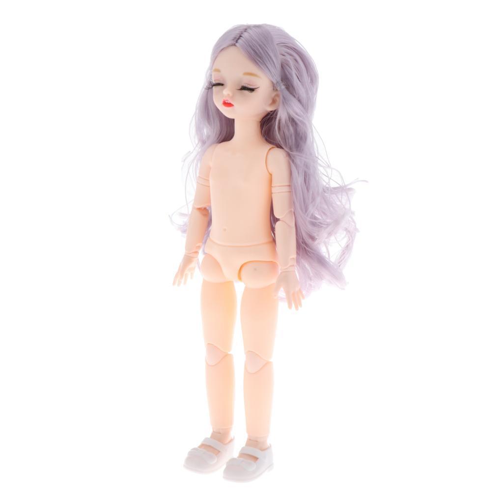 30cm 1:6 Flexible BJD 26 Jointed Girl Doll Body Black Long Hair Makeup