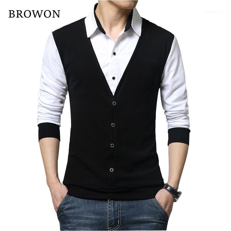 BROWON Marke Herbst-Männer-T-Shirts Art und Weise 2017 gefälschten zwei Designer Kleidung Cool T-Shirt Männer Langarm-T-Shirt beiläufig male1
