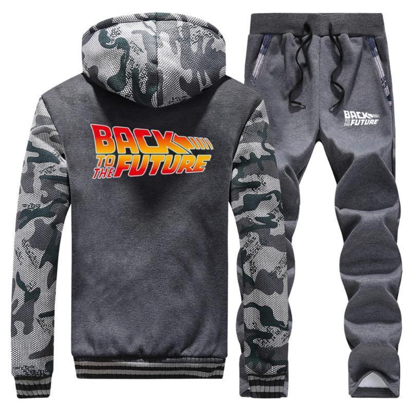 Geri Gelecek Erkek Iki Parça Bir Takım Sonbahar Kış Sıcak Satış Mens Hipster Zip Hoodies Spor Pantolon Yüksek Kalite Erkekler Ceketler