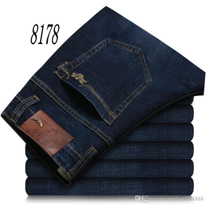 8178 AJ-JEANS Primavera Outono Calças exteriores grossas calças calças jeans stretch calças de algodão casuais negócios calças