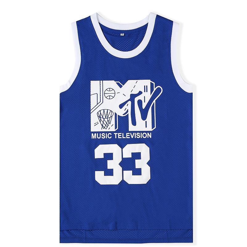 Herren Will Smith # 33 Basketball Jersey Musik Fernsehen Erster Jährliches Rock N'Jock B-Ball Jam 1991 Blue genähte Hemden MTV