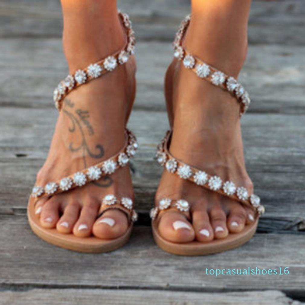 Le donne sandali gladiatore 2020 estate Casual Shoes Boemia mujer scarpe da sposa di cristallo delle signore Feminina Flip Flops Beach Sandals Y200405 T16