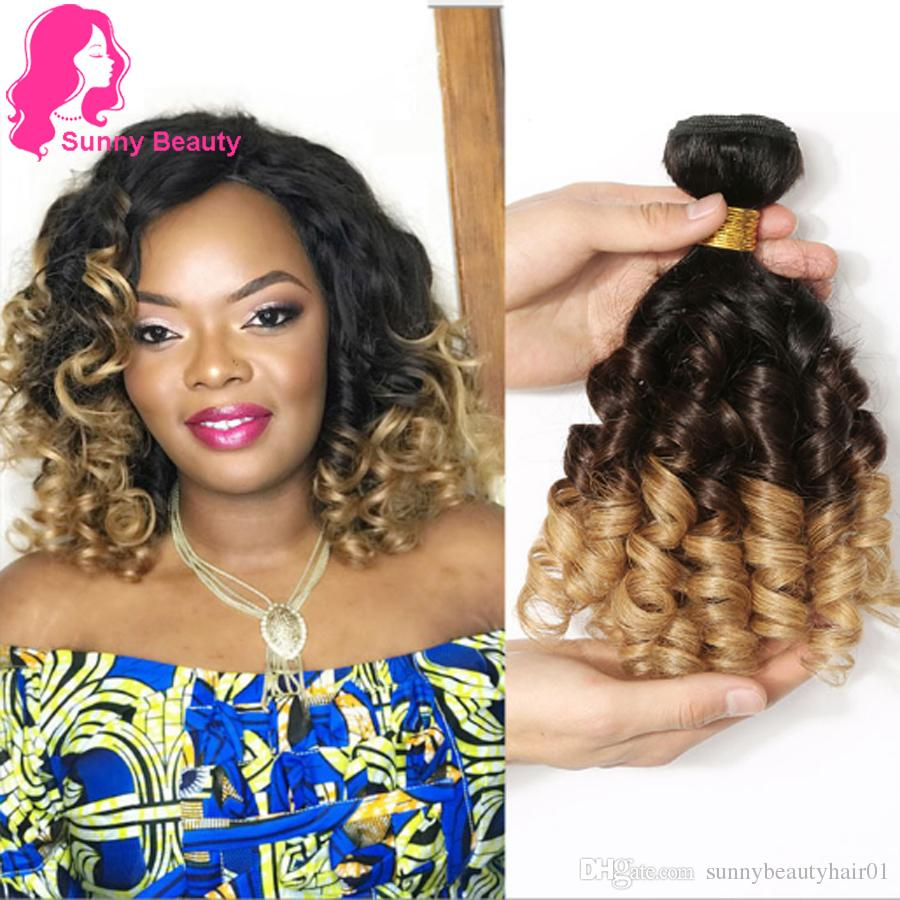Brazilian Bouncy Curly Hair Bundle with Closures Ombre Hair Extensions Remy Aunty Funmi Remy 1B/4/27 & 1B/4/30 Bouncy Curly Weave Free Ship