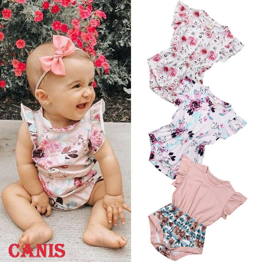 Verão New Doce Cute Kids infantil bebê recém-nascido meninas Floral Imprimir mangas Ruffle Algodão Bodysuits Verão causais macias sunsuits