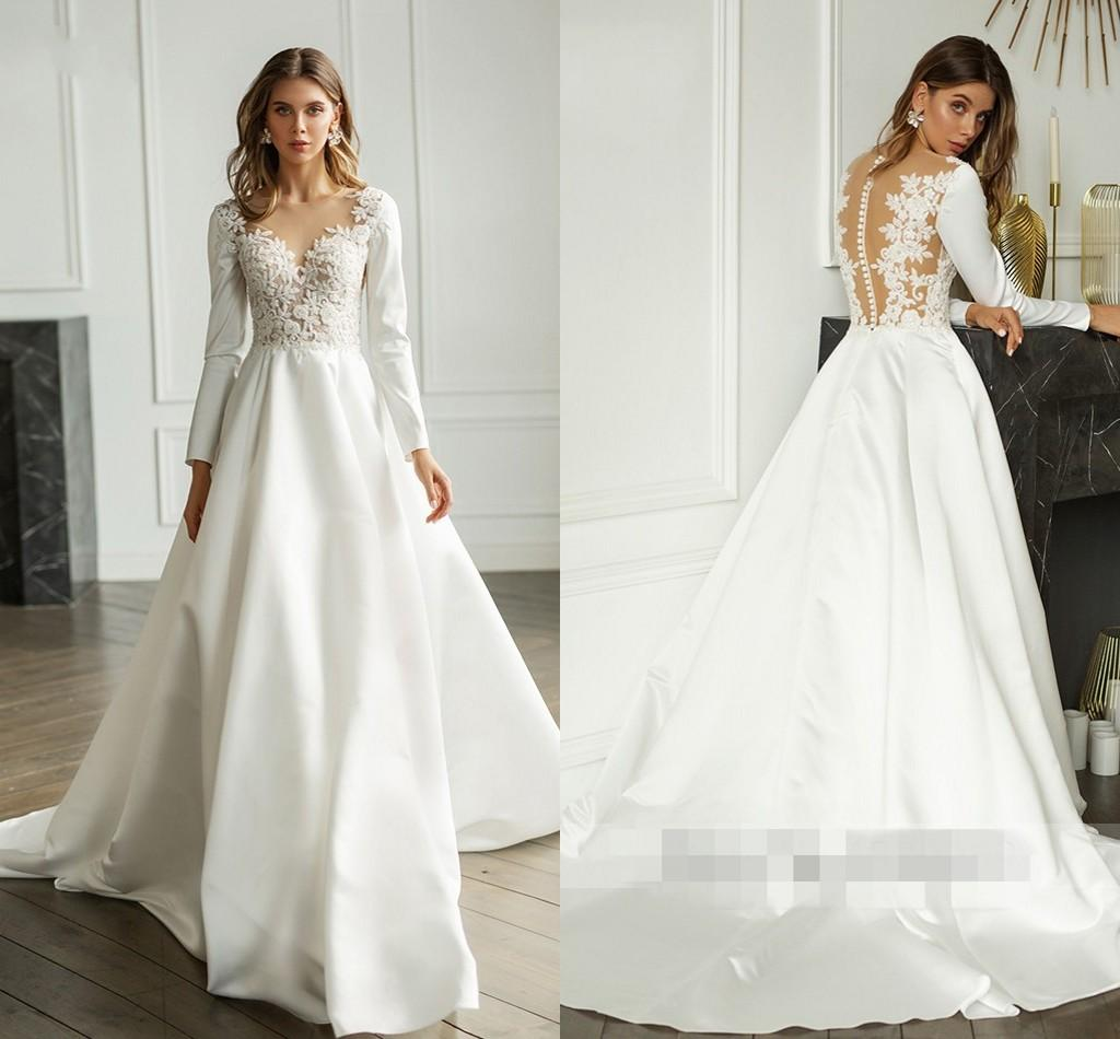 Discount Simple Princess A Line Wedding Dresses Empire Waist Lace Beaded Long Sleeve Hollow Back Wedding Guest Dress Bridal Gowns Robes De Mariee Wedding Collection For Bride Wedding Dress Buy Online From