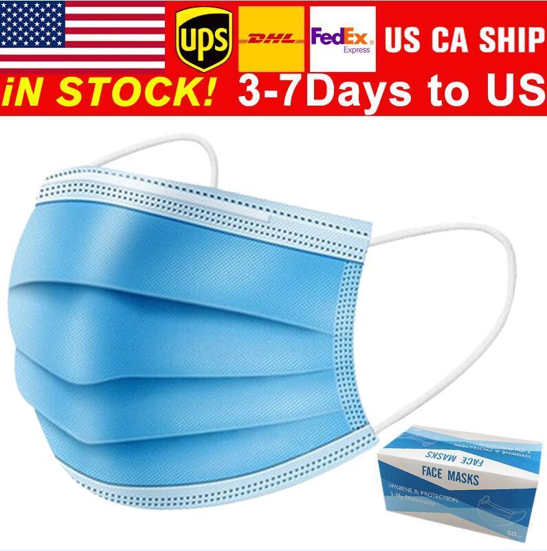 envío gratis 3-7 días a la cara Máscaras de EE.UU. desechable con elástico Ear Loop 3 capas transpirable para el bloqueo de la máscara de polvo del aire contra la contaminación
