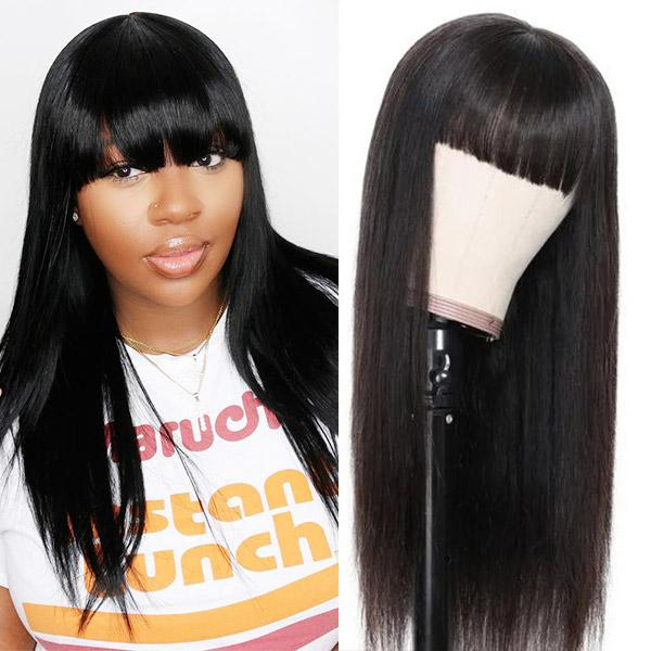 Droit brésilien perruques de cheveux humains avec Bangs péruvienne machine Fait Aucune dentelle perruques Indien cheveux malais Body Wave