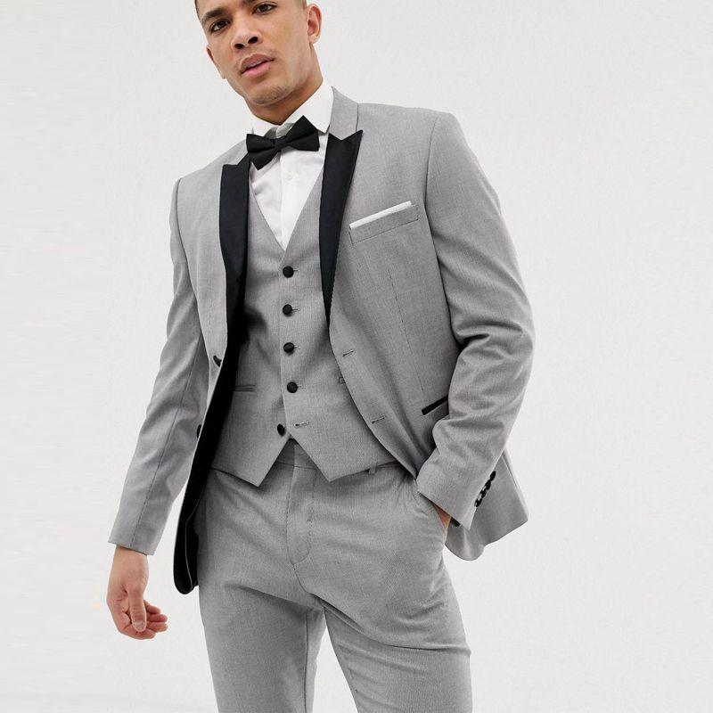 Slim Fit Hellgrau Herren 3 Stück Hochzeit Anzüge Jacke + Hosen + Weste Bräutigamanzüge Tuxedo Groomsmen Anzüge Hochzeit Smoking für Männer