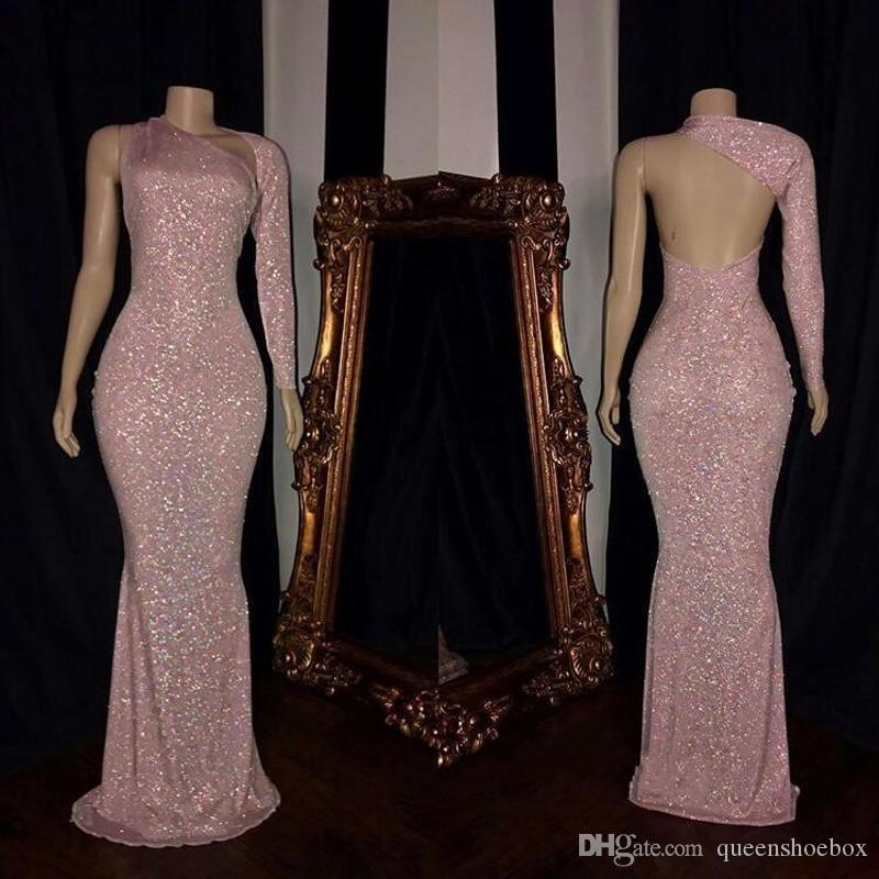 Pink Charming One Shoulder Prom Dresses New Design Backless Sequins Long Sleeves Floor Length Women Cocktail Party Gowns Evening Dresses