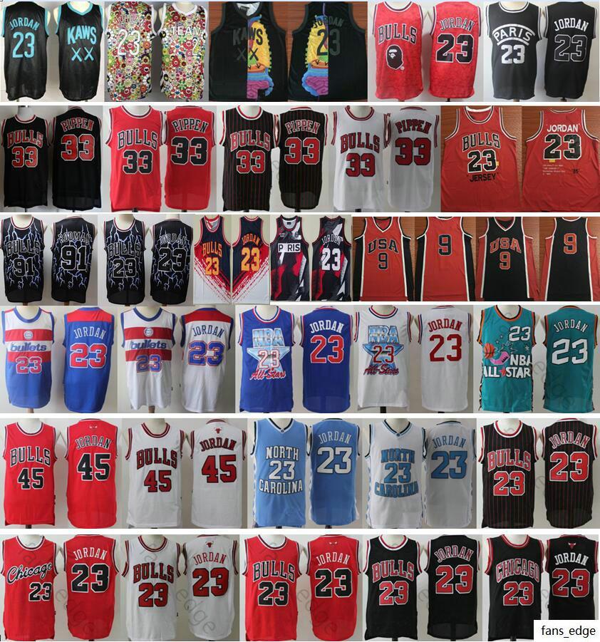 NCAA North Carolina 2020 Nuovo XX Team 23 Michael JD 45 MJ Scottie 33 Pippen Dennis 91 Rodman a buon mercato retrò basket maglie