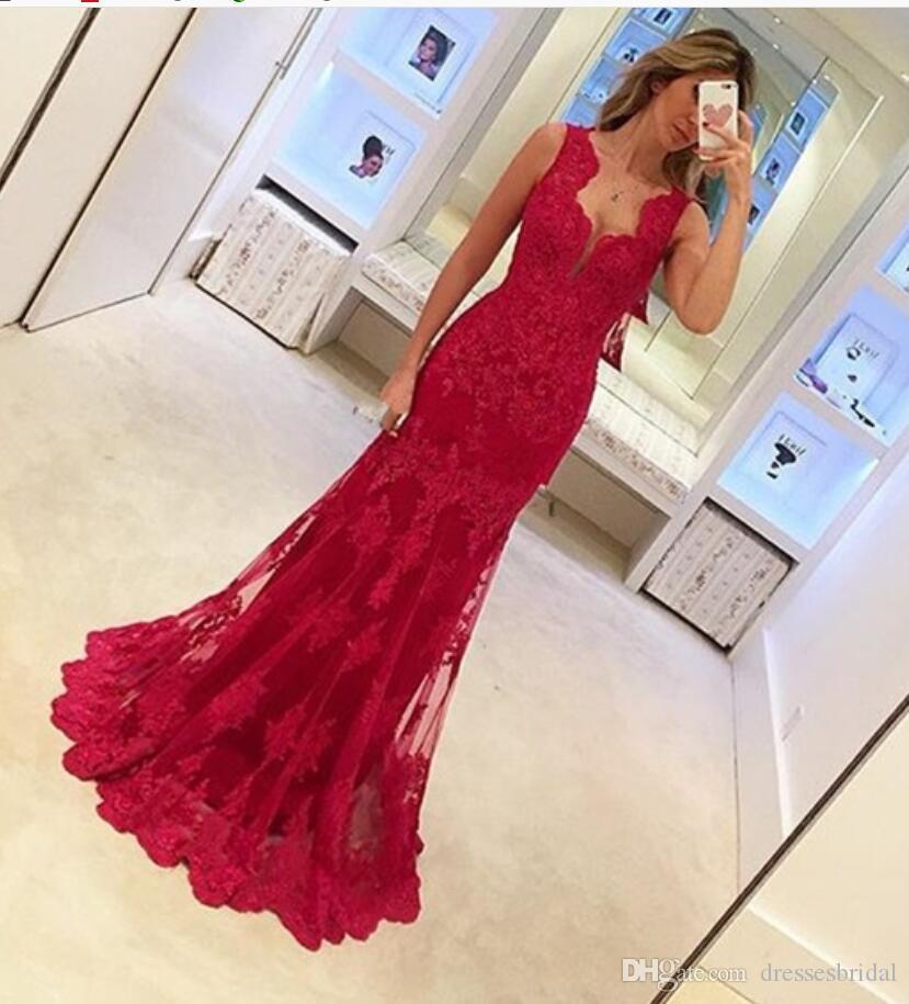 Appliques rouges en dentelle robe de soirée sans manches sirène robe de soirée femmes élégantes robes de bal longue robe formelle