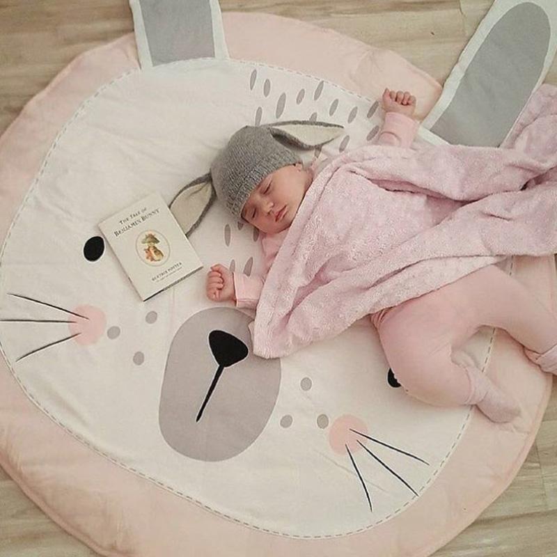 Estera del juego animal del bebé recién nacido de arrastre Mats infantil manta de algodón redonda Alfombras Piso Moqueta Alfombra para niños Sala de Nursery Decor KKF 001