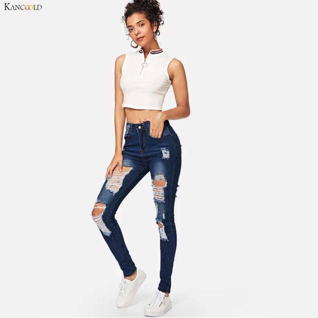 KANCOOLD Hosen Frauen arbeiten Loch Tasche Wilde Slim Fit feste Bleistift-Hosen-dünne Reißverschluss Mid beiläufige neue Jeans Frau