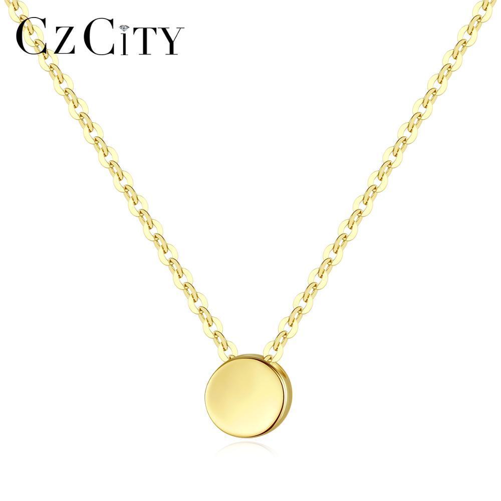CZCITY الحد الأدنى 14K البحتة الذهب جولة قلادة قلادة للمرأة يؤرخ Au585 المختنق 14K الذهب الأصفر بسيط الجميلة مجوهرات N14130