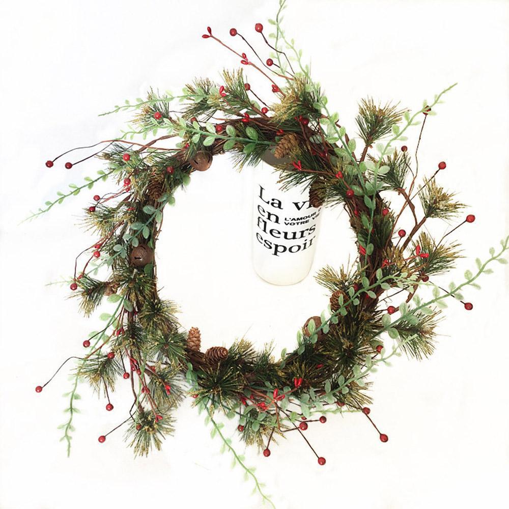 Fausse guirlande de fleurs de guirlande de Noël Décor de porte artificielle mousse Berry Couronne avec naturel cône de pin pendentif pour anniversaire Décor