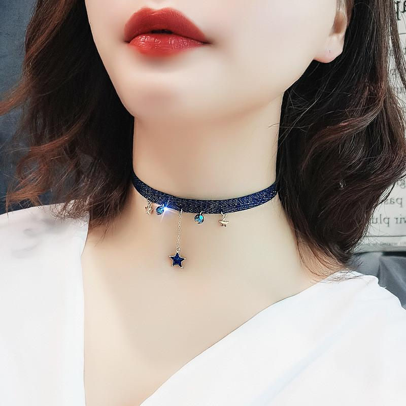 Collana Neckband Bacolod stella della luna di cristallo per le donne 2020 Fashion Party ufficio JewelryAccessories bellezza blu Girocollo Collana