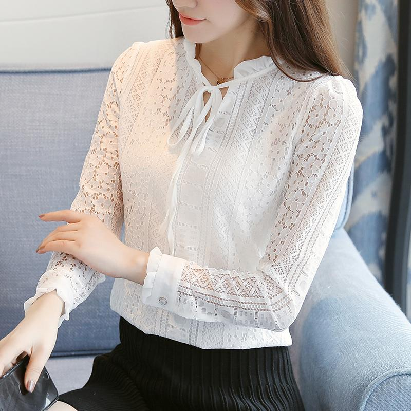Korean style women blouses Fashion Ruffles neck long Sleeve lace white blouse shirts women plus size office blusas plus size SH190907