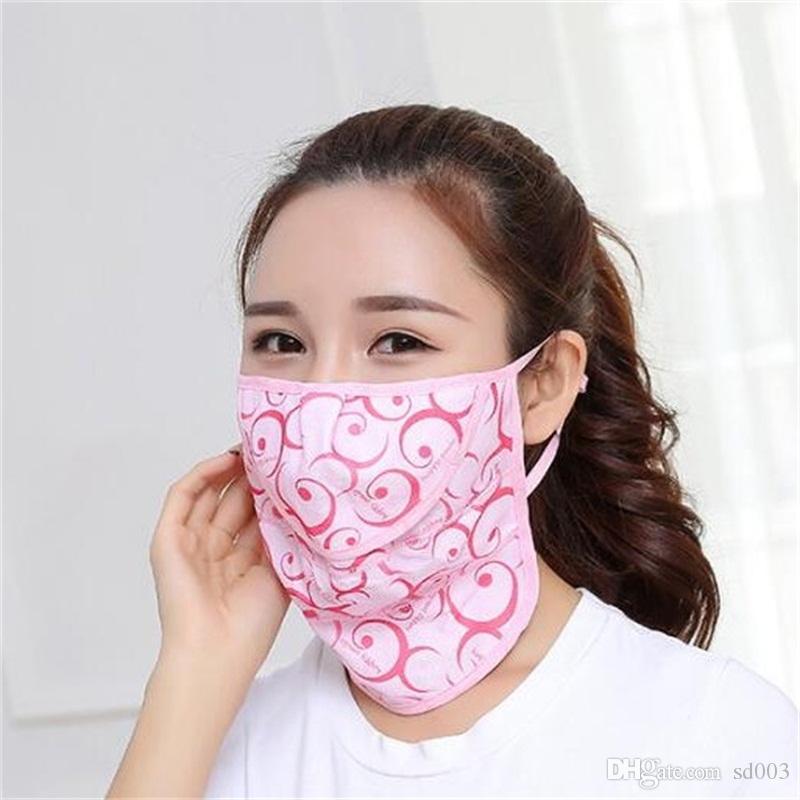 Face do verão máscara máscaras de proteção do pescoço respiratórios Respiradores Senhora Boca face de impressão Protetor solar doméstico de proteção 2 4gy UU