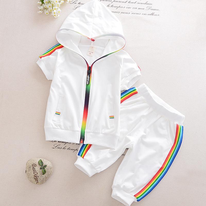 Kid Boy roupa da menina Sportswear Verão 2018 Moda manga curta colorido Zipper com capuz Vestuário para meninas Crianças Outfit Set LY191227