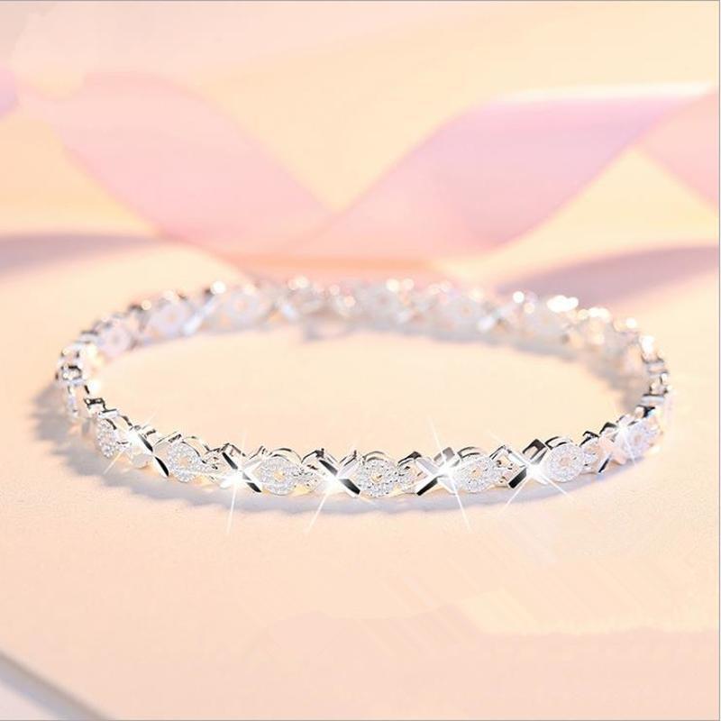 LUKENI Top Quality 925 Sterling Silver Bracelets For Women Wedding Accessories Lady Fahsion Zircon Geometric Bracelet Girl Gift
