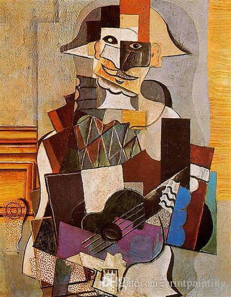 Pablo Picasso Classical Oil Painting Harlequin Cubism 100% Handmade By Experienced Painter On White Canvas Picasso313