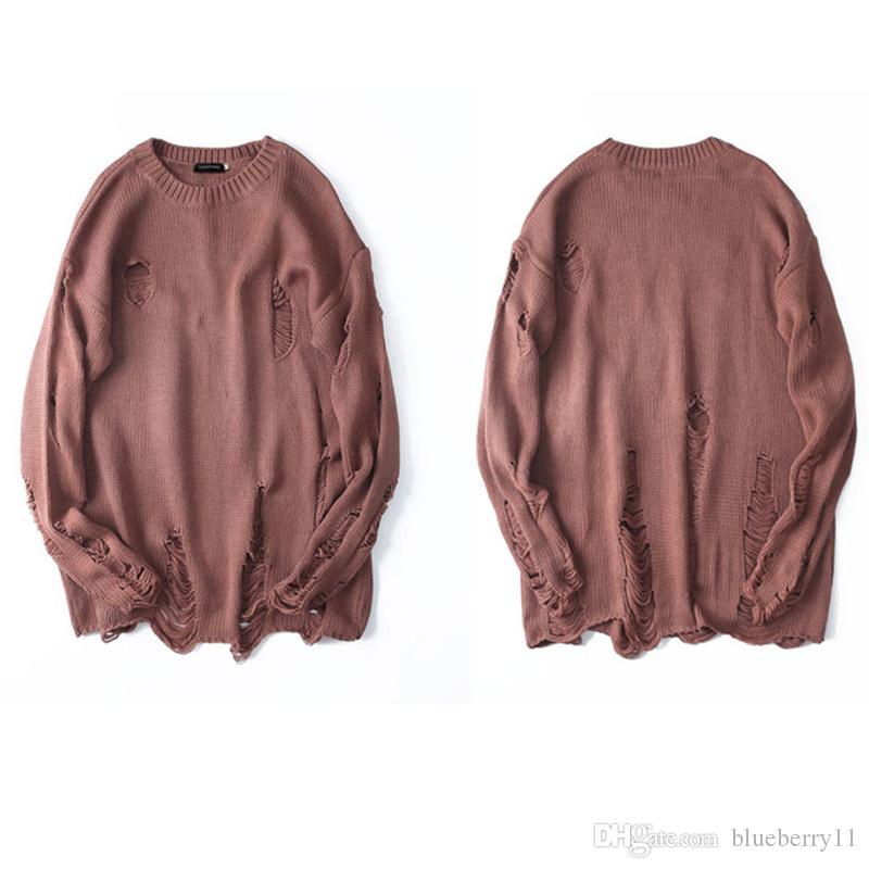 Rasgadas Buracos destruído afligido Sweaters Mens malha pulôver Male Hip Hop Moda solto camisola Streetwear