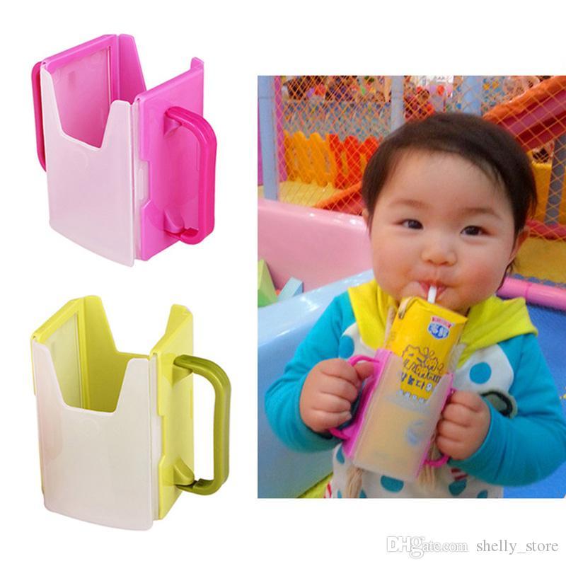 Pratik Kullanışlı Tedarik Evrensel Bebek Kendi Kendine Yardım İçecek suyu Süt Kutusu Tutucu Kupa Depolama Süt Ayarlı Kolları Tedarik