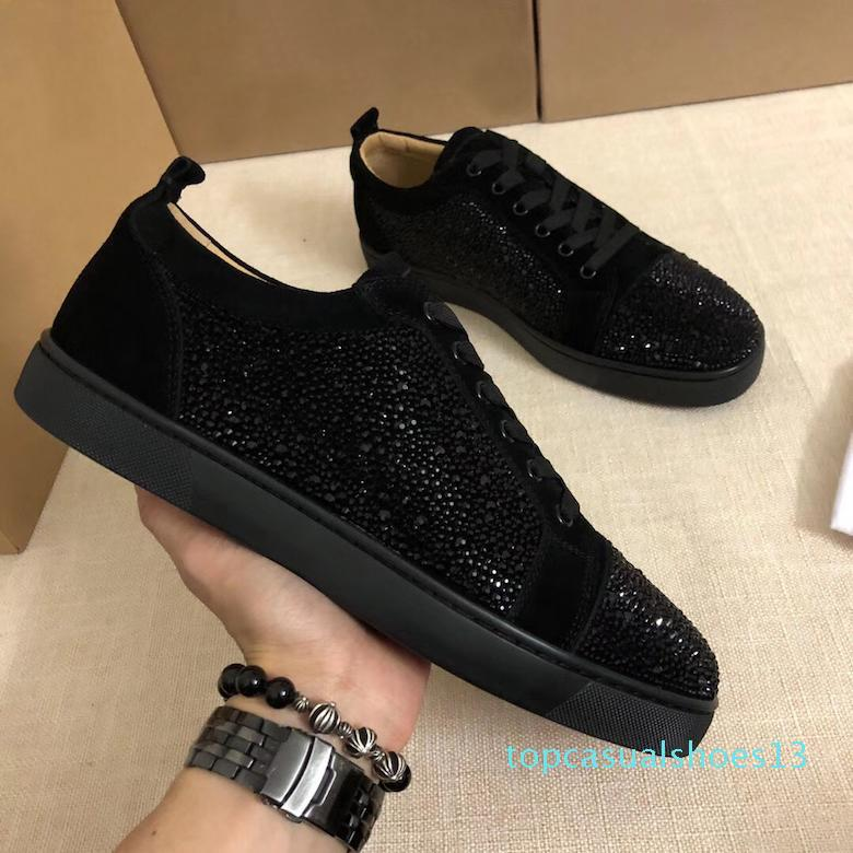 With Box Designer Sneakers Low Cut Spikes Flats Shoes Red Bottom For Men and Womens Leather Sneakers Party Designer Shoes t13