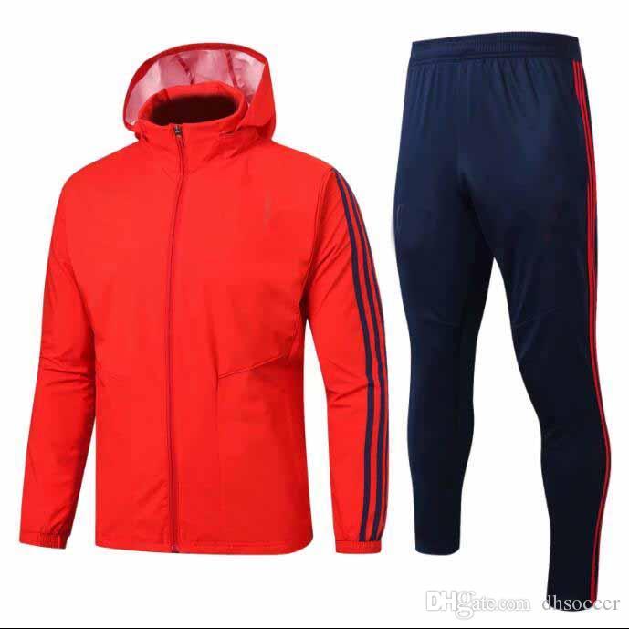 1920 costume manteau de formation anorak coupe-vent rouge de formation uniforme pluie Manteau de football survêtement Veste à capuche avec uniforme