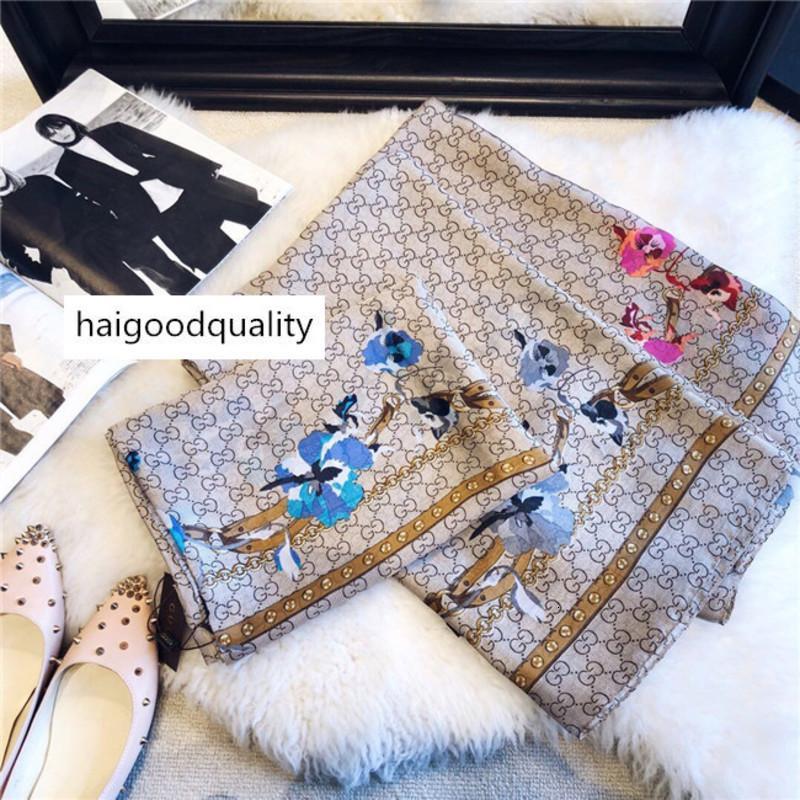 Belle marque de qualité classique 100% écharpe en soie pour femme Nouveau printemps Designer Floral fleurs longues écharpes Scarfs Wrap avec l'étiquette 180x90cm Châles z12