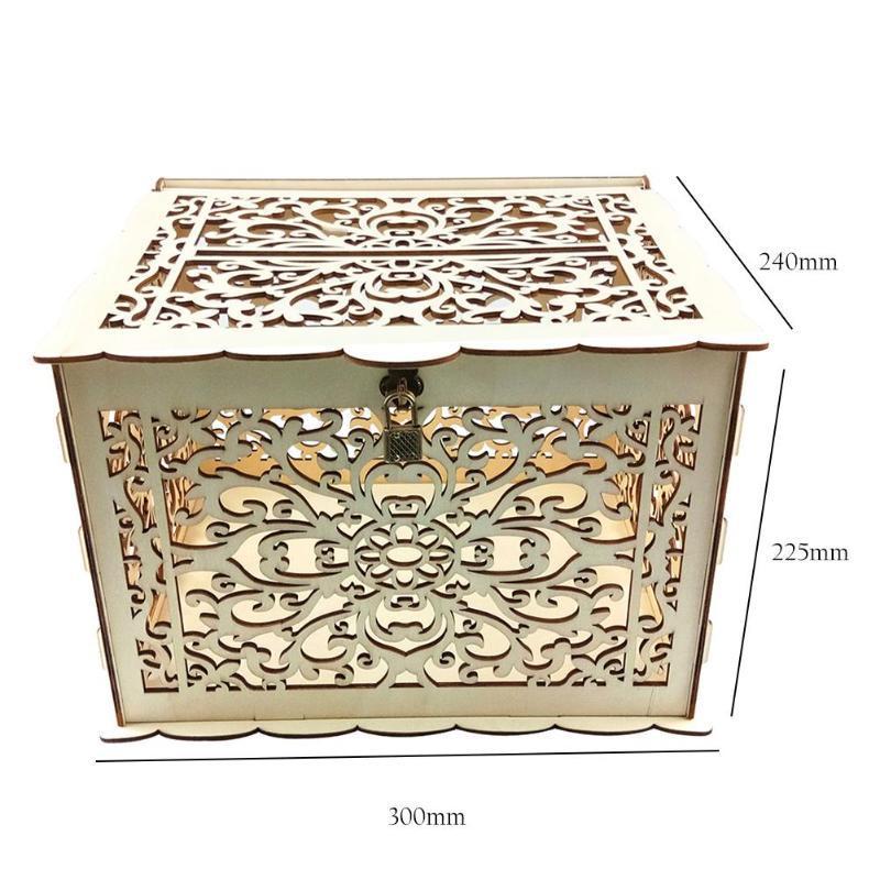 Regalo di nozze nuovo DIY carta scatola di legno Money Box con serratura accessori per la casa Beautiful Wedding decorazione per la festa di compleanno di stoccaggio di denaro