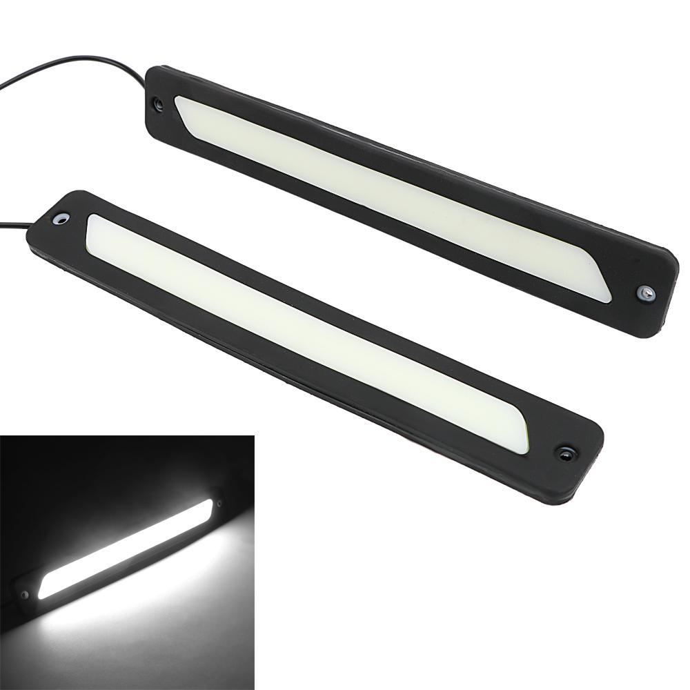 COB Araba DRL 2 Adet Harici Işık Otomatik Lamba Araba Styling Evrensel LED Gündüz Farları