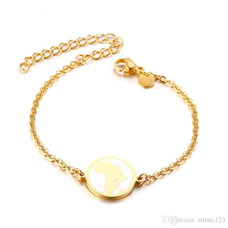 Bracelet en or en acier inoxydable de carte de l'Afrique de mode de couleur de mode simple de Madame pour femmes bracelet de montre cadeau pour les femmes fille J635