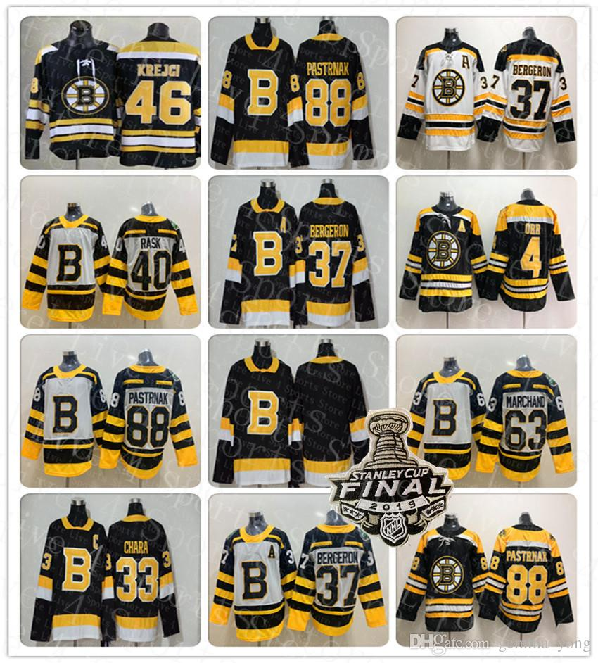 2019 schwarz Dritter Boston Bruins Hockey Jersey Zdeno Chara Patrice Bergeron Tukka Rask David Krejci Brad Marchand David Pastrnak Orr Krug