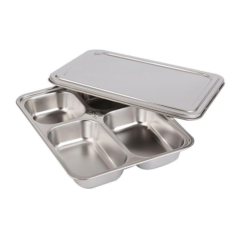 Heavy Duty in acciaio inox Rettangolo Piatto 5 sezioni divise Vassoi Mess per i bambini il pranzo, Camping, eventi ogni giorno Utilizzo utensili da cucina