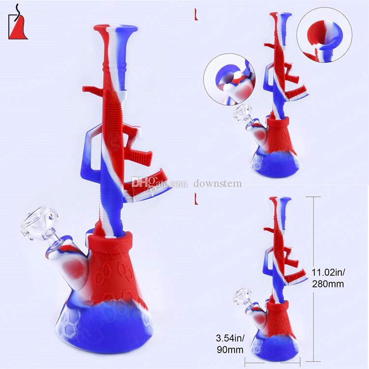 깨지지 않는 유리 파이프 유리 석유 버너 파이프 창조적 물 담뱃대를 봉 AK47 모양 실리콘 금연 파이프 실리콘 물