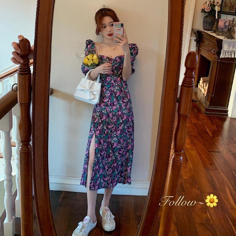 Fransız Romantizm Retro Elbiseler Kadınlar Casual Çiçek Baskı Kare Yaka Elbiseler Ruffles Puff Kol Midi Lady